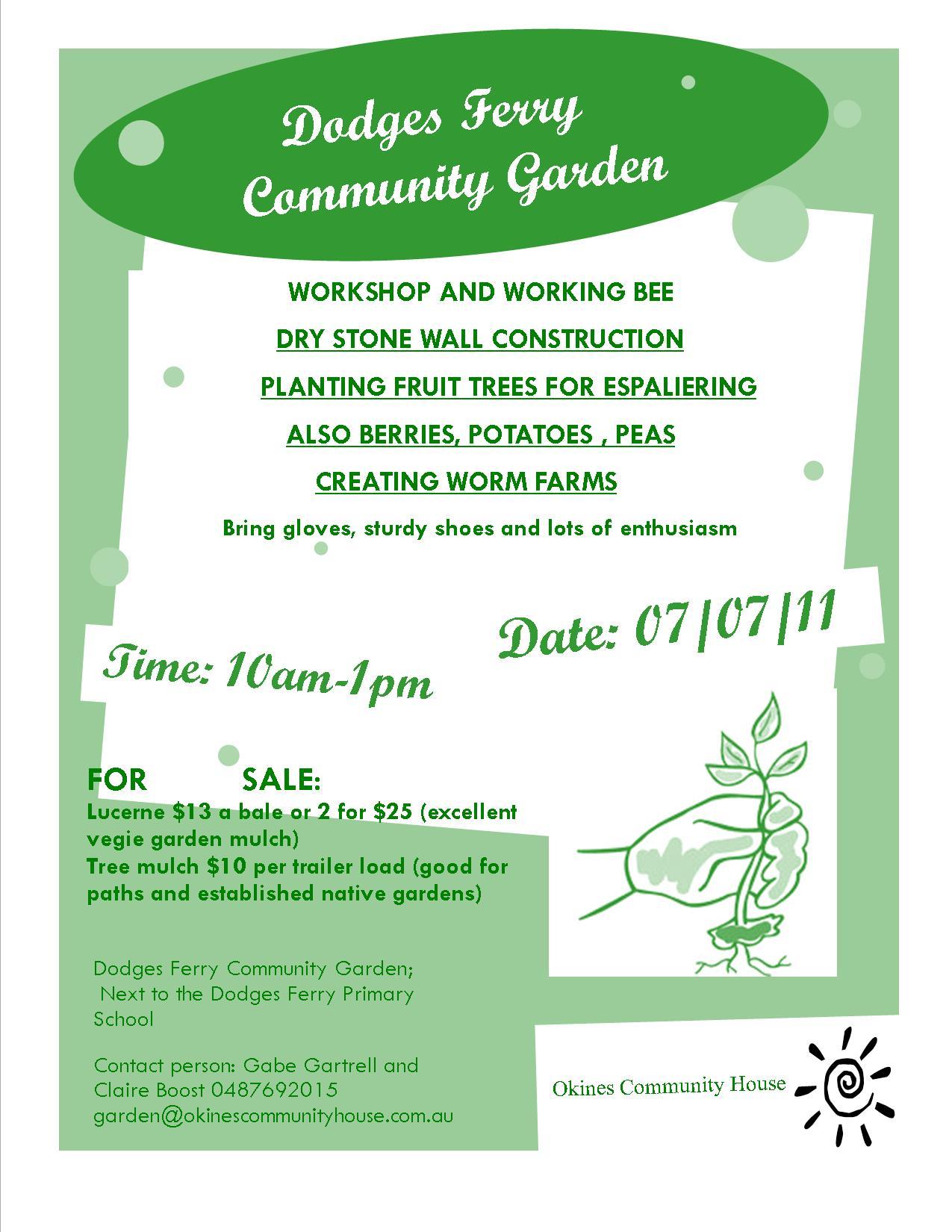 August 7 poster Okines Community Garden